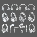 Σκιαγραφίες των ακουστικών ελεύθερη απεικόνιση δικαιώματος
