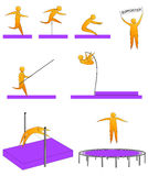 Σκιαγραφίες των ανθρώπων που πηδούν τον αθλητισμό Στοκ φωτογραφία με δικαίωμα ελεύθερης χρήσης
