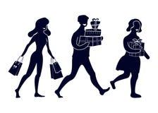 Σκιαγραφίες των αφηρημένων ανθρώπων με τις αγορές και τα δώρα Πηγαίνοντας ευτυχείς αγοραστές ελεύθερη απεικόνιση δικαιώματος