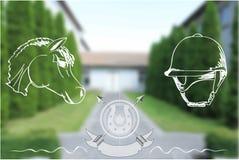 Σκιαγραφίες των αλόγων και του φορέα εξοπλισμού ελεύθερη απεικόνιση δικαιώματος