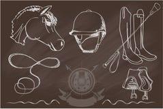 Σκιαγραφίες των αλόγων και του φορέα εξοπλισμού διανυσματική απεικόνιση