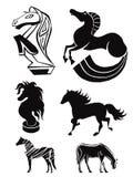 Σκιαγραφίες των αλόγων. σύνολο 3 Στοκ φωτογραφία με δικαίωμα ελεύθερης χρήσης