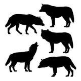 Σκιαγραφίες των γκρίζων λύκων διανυσματική απεικόνιση
