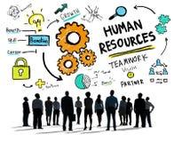 Σκιαγραφίες των επιχειρηματιών με τα επιχειρησιακά σύμβολα Στοκ Εικόνες