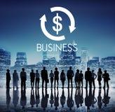 Σκιαγραφίες των επιχειρηματιών με τα επιχειρησιακά σύμβολα Στοκ φωτογραφίες με δικαίωμα ελεύθερης χρήσης