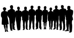 Σκιαγραφίες των επιχειρηματιών, που στέκονται στη γραμμή Στοκ Εικόνες