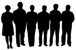 Σκιαγραφίες των επιχειρηματιών, που στέκονται στη γραμμή Στοκ εικόνα με δικαίωμα ελεύθερης χρήσης