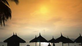 Σκιαγραφίες των καρεκλών παραλιών στον ουρανό βραδιού στο Βιετνάμ με τους φοίνικες Άποψη των ομπρελών από έναν κολπίσκο στην παρα φιλμ μικρού μήκους