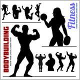 Σκιαγραφίες των κοριτσιών Bodybuilders και ικανότητας - διανυσματικό σύνολο εικονιδίων γυμναστικής διανυσματική απεικόνιση