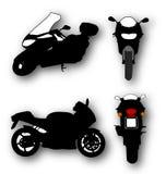 Σκιαγραφίες των μαύρων μοτοσικλετών Στοκ Εικόνες
