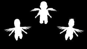 Σκιαγραφίες των μικρών αγγέλων Άλφα κανάλι Άλφα μεταλλίνη 4K απεικόνιση αποθεμάτων