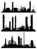 Σκιαγραφίες των μονάδων για τη βιομηχανική ζώνη Στοκ εικόνα με δικαίωμα ελεύθερης χρήσης