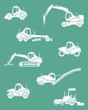 Σκιαγραφίες των οδικών μηχανημάτων Στοκ εικόνα με δικαίωμα ελεύθερης χρήσης