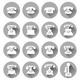 Σκιαγραφίες των παλαιών τηλεφώνων, επίπεδα εικονίδια Στοκ φωτογραφίες με δικαίωμα ελεύθερης χρήσης