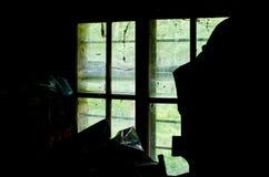 Σκιαγραφίες των πραγμάτων που πλαισιώνουν ένα παλαιό παράθυρο που καλύπτεται με τον Ιστό αραχνών ` s Στοκ φωτογραφία με δικαίωμα ελεύθερης χρήσης