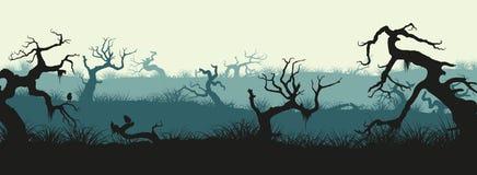 Σκιαγραφίες των σπασμένων δέντρων και της χλόης έλους Πανόραμα ελών Hor Στοκ φωτογραφίες με δικαίωμα ελεύθερης χρήσης
