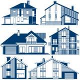 Σκιαγραφίες των σπιτιών απεικόνιση αποθεμάτων