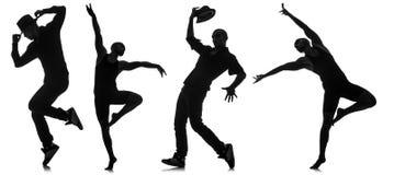 Σκιαγραφίες των χορευτών στην έννοια χορού Στοκ φωτογραφία με δικαίωμα ελεύθερης χρήσης
