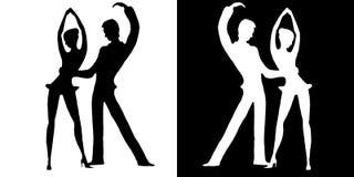 Σκιαγραφίες των χορευτών στο λευκό και σε ένα μαύρο υπόβαθρο Στοκ Φωτογραφία