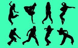 Σκιαγραφίες των χορευτών χιπ χοπ - απεικόνιση Στοκ Φωτογραφία