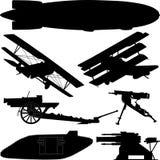 Σκιαγραφίες των όπλων από τον Πρώτο Παγκόσμιο Πόλεμο (μεγάλος πόλεμος) Στοκ Εικόνες