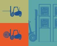 Σκιαγραφίες των forklifts. Forklift αγαθά φόρτωσης Στοκ Εικόνες