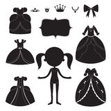 Σκιαγραφίες φορεμάτων πριγκηπισσών καθορισμένες Γραπτά φορετά στοιχεία κινούμενων σχεδίων διανυσματική απεικόνιση