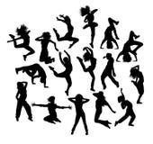 Σκιαγραφίες χορευτών χιπ χοπ διασκέδασης Στοκ Εικόνες