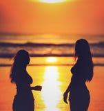 Σκιαγραφίες δύο κοριτσιών ενάντια στο κόκκινο ηλιοβασίλεμα Στοκ Εικόνα