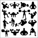 Σκιαγραφίες Bodybuilders - διανυσματικό σύνολο εικονιδίων γυμναστικής Στοκ Εικόνες