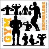 Σκιαγραφίες Bodybuilders - διανυσματικό σύνολο εικονιδίων γυμναστικής απεικόνιση αποθεμάτων