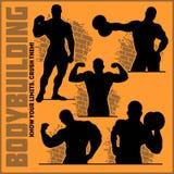 Σκιαγραφίες Bodybuilders - διανυσματικό σύνολο εικονιδίων γυμναστικής διανυσματική απεικόνιση
