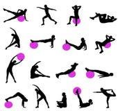 Σκιαγραφίες Pilates Στοκ Εικόνες