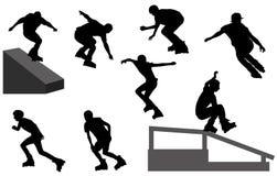 Σκιαγραφίες Rollerblade Στοκ Εικόνες