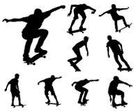 Σκιαγραφίες Skateboarders Στοκ Φωτογραφία
