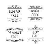 Σκιαγραφημένα τα χέρι ΔΙΑΝΥΣΜΑΤΙΚΑ εικονίδια για τη συσκευασία της υγείας τρώνε τα προϊόντα: Ζάχαρη, φυστίκι, γαλακτοκομείο, ΕΛΕΥ ελεύθερη απεικόνιση δικαιώματος