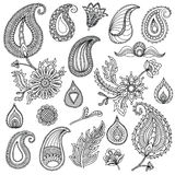 Σκιαγραφημένα χέρι διανυσματικά εκλεκτής ποιότητας στοιχεία όπως τα φύλλα, λουλούδια, στρόβιλοι textile Τελειοποιήστε για τις προ διανυσματική απεικόνιση