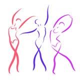 Σκιαγραφημένα χορεύοντας κορίτσια καθορισμένα Στοκ εικόνα με δικαίωμα ελεύθερης χρήσης