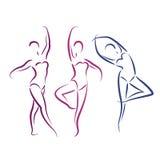 Σκιαγραφημένα χορεύοντας κορίτσια που απομονώνονται στο λευκό Στοκ φωτογραφίες με δικαίωμα ελεύθερης χρήσης