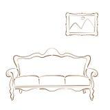 Σκιαγραφημένοι καναπές και εικόνα καναπέδων στον τοίχο Στοκ Εικόνα