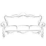 Σκιαγραφημένος καναπές καναπέδων Στοκ Εικόνα