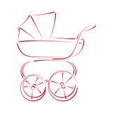 Σκιαγραφημένος περιπατητής μωρών με λάθη Στοκ Φωτογραφία
