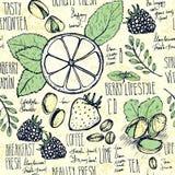 Σκιαγραφημένο άνευ ραφής υπόβαθρο προγευμάτων με croissant, το λεμόνι και τα μούρα απεικόνιση αποθεμάτων