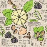 Σκιαγραφημένο άνευ ραφής υπόβαθρο προγευμάτων με croissant, το λεμόνι και τα μούρα ελεύθερη απεικόνιση δικαιώματος