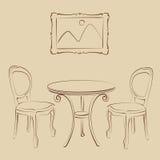 Σκιαγραφημένο εσωτερικό καφέδων Στοκ Εικόνες