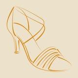 Σκιαγραφημένο παπούτσι γυναικών s Στοκ φωτογραφία με δικαίωμα ελεύθερης χρήσης