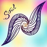 Σκιαγραφημένο χέρι αφηρημένο στοιχείο με την εγγραφή ψυχή ανασκόπηση που σύρει το floral διάνυσμα χλόης Στοκ Φωτογραφίες