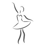 Σκιαγραφημένο ballerina Στοκ Φωτογραφία