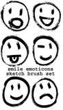 Σκιαγραφημένο smiley emoticons διανυσματική απεικόνιση