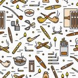 Σκιαγραφιών καπνίσματος και τσιγάρων άνευ ραφής σχέδιο κινούμενων σχεδίων γραμμών εικονιδίων διανυσματικό Ελαφρύτερη ashtray αντι Στοκ Εικόνα